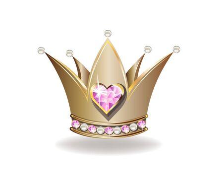 Belle couronne de princesse dorée avec perles et bijoux roses.