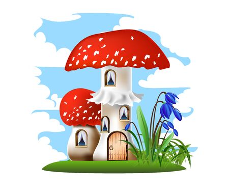 Colorful illustration of a mushroom house with a red roof.