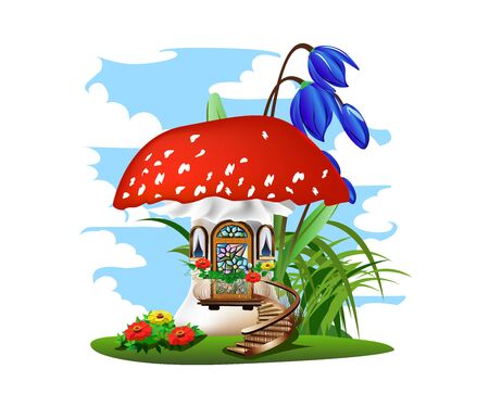 Colorful illustration of a mushroom house with a red roof. Stockfoto - 126865536
