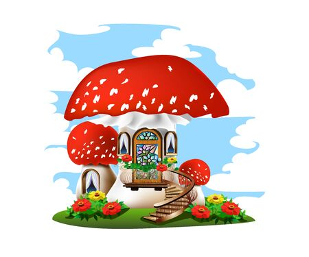 Colorful illustration of a mushroom house with a red roof. Stockfoto - 126865539