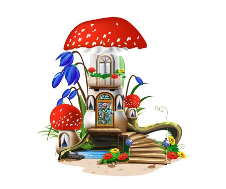 Colorful illustration of a mushroom house with a red roof. Stockfoto - 126865540