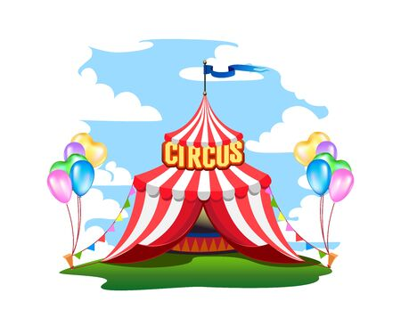 A colorful circus tent with balloons and treats. Stockfoto - 128643979