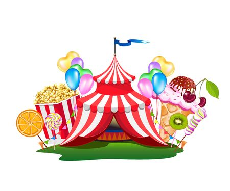 A colorful circus tent with balloons and treats.