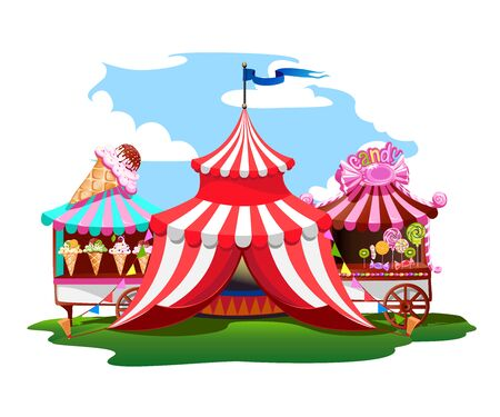 A colorful circus tent with balloons and treats Stock Illustratie