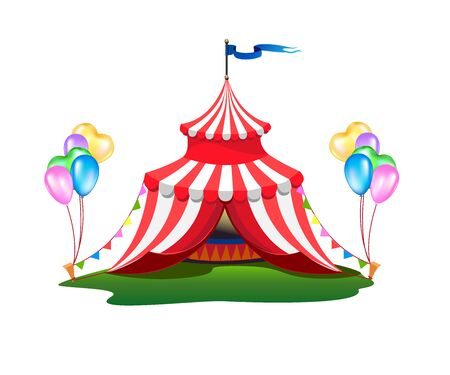 A colorful circus tent with balloons and treats. Stockfoto - 128643983