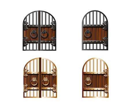 Set of vintage wrought iron gates in cartoon style.