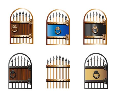 Set of vintage wrought iron gates in cartoon style.