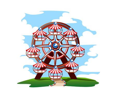 Ferris wheel with colorful design.