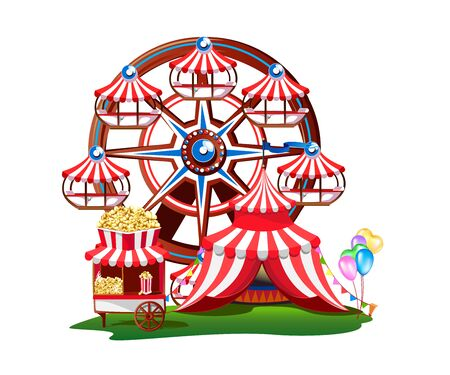 Fairytale amusement park with a Ferris wheel, a circus tent and sweets.