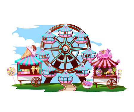 Fairytale amusement park with a Ferris wheel, a circus tent and sweets