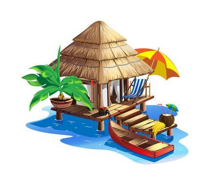 Tropical house with thatched roof. Illusztráció