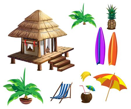 Tropical house with thatched roof