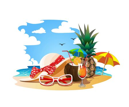 Summer vacation on a tropical beach Stock Illustratie