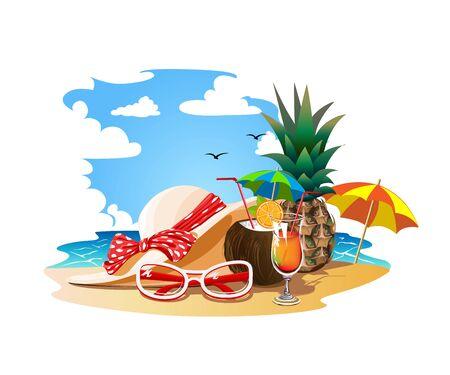 Summer vacation on a tropical beach Illusztráció