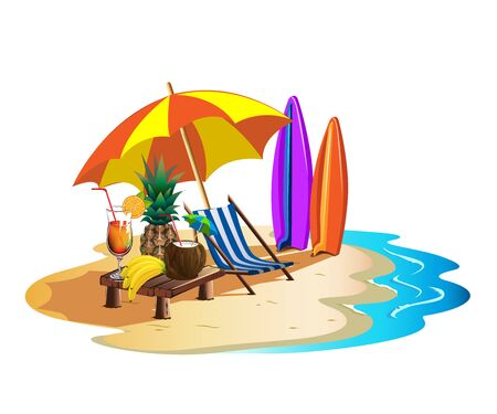 Summer holiday on the beach with a deck chair, cocktails and surfboards Stock Illustratie