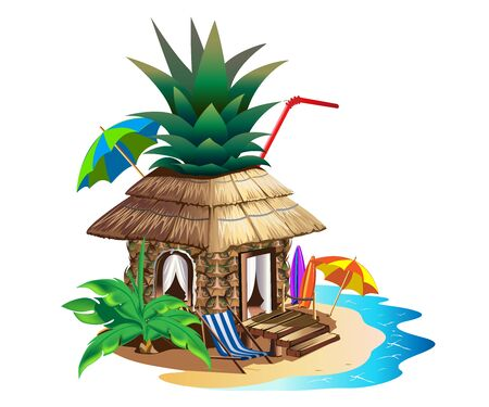 Tropical house with thatched roof. Stock Illustratie