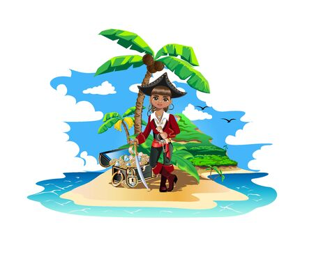 Colorful island with pirate treasures.