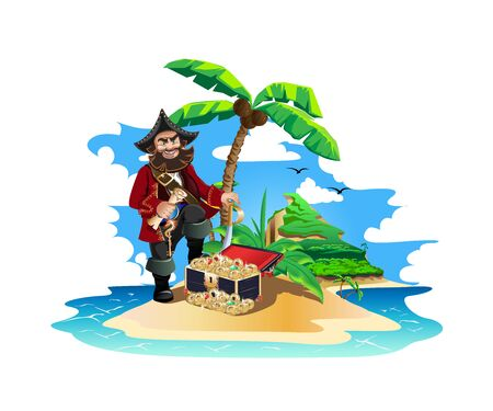 Colorful island with pirate treasures Ilustrace