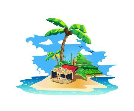 Colorful island with pirate treasures Illusztráció