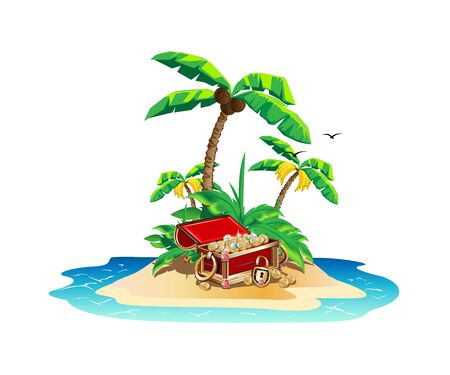 Bunte Insel mit Piratenschätzen. Vektorgrafik
