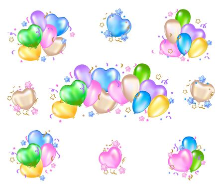 Set of colorful balloons on white