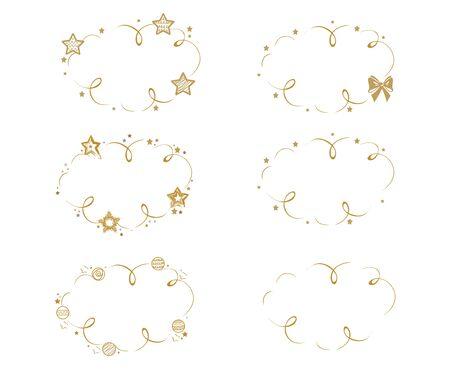 Vector set of empty frames from stars on white 일러스트
