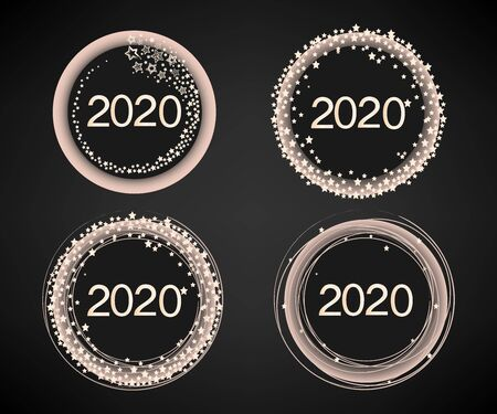Happy New Year 2020 numbers set with starry decoration on a dark