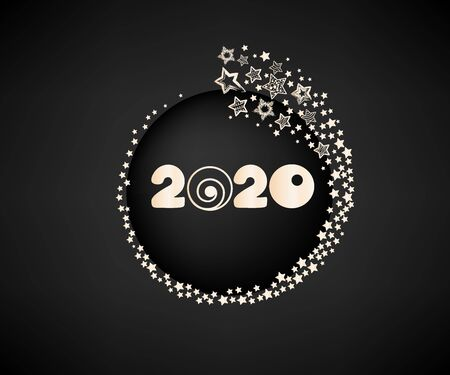 Happy New Year 2020. Vector numbers with starry decoration on a dark background. 일러스트
