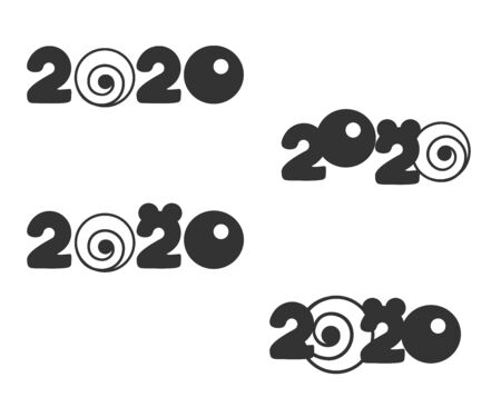 Happy New Year 2020 numbers set on a white 일러스트