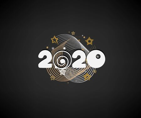 Happy New Year 2020 numbers with starry decoration on a dark 일러스트