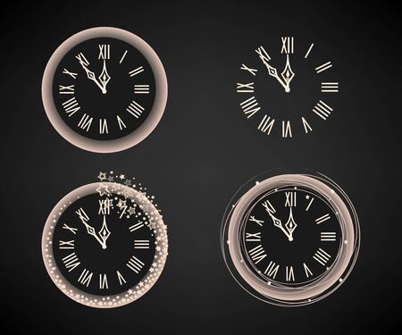 Vector set of New Years clocks with star frames