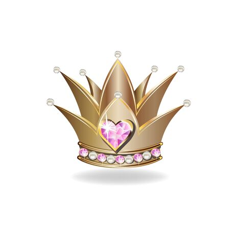 Beautiful golden princess crown with pearls and pink jewels. Vector illustration on white background. 일러스트