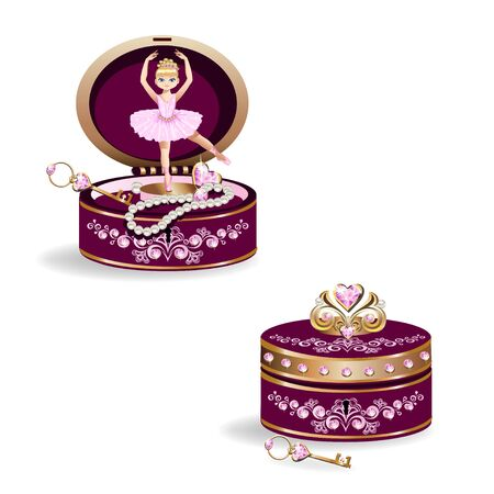 Ballerina in a music box with jewelry 일러스트