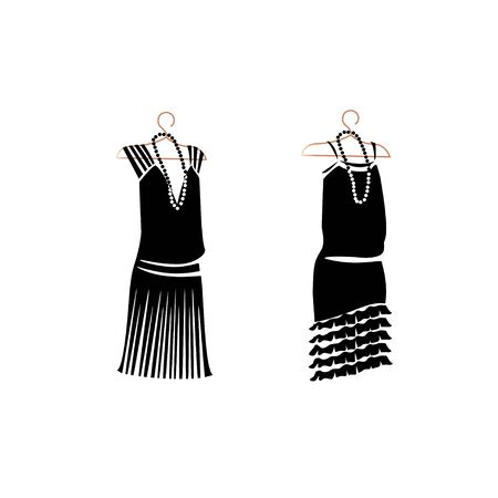 Dress in retro style silhouette.