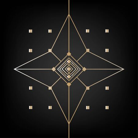 Golden abstract ornament in the style of Art Decor.