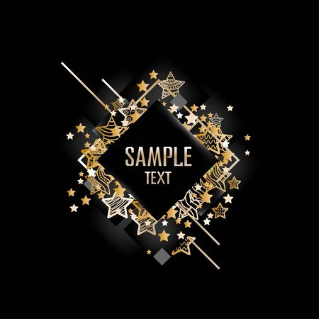 Abstract frame on a black background with gold. Vector illustration of a template on a dark background. Standard-Bild - 139717263