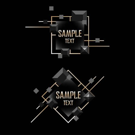 Abstract frame on a black background with gold. Vector illustration of a template on a dark background. 일러스트