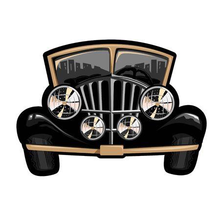 Retro car with big headlights. 일러스트