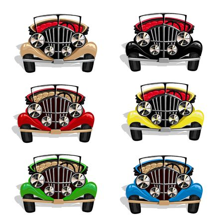 Set of retro cars of different colors.