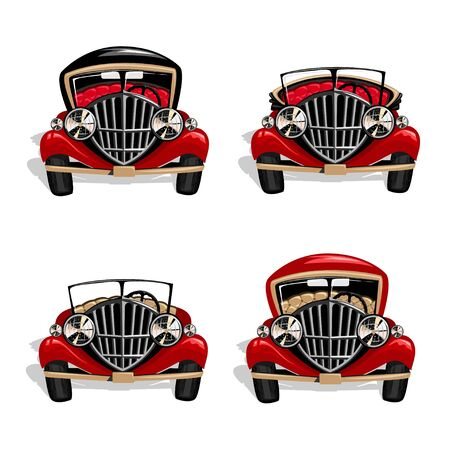 Vector set of red retro cars.