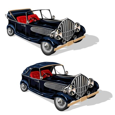 Vector set of black retro convertibles. Isolated illustration on a white background.