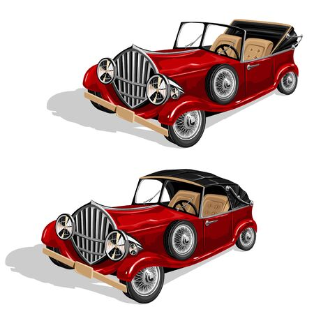 Vector set of red retro convertibles. Isolated illustration on a white background.
