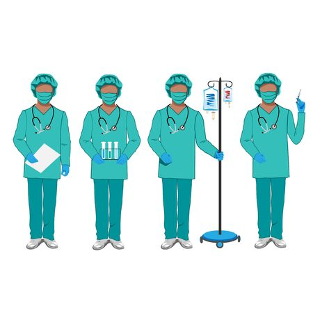 Set of characters of doctors in overalls. Stop the epidemic. Set vector illustration on a white background.