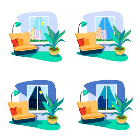 The interior of the room at different times of the day. Set of vector illustrations on a white background. Vektorgrafik