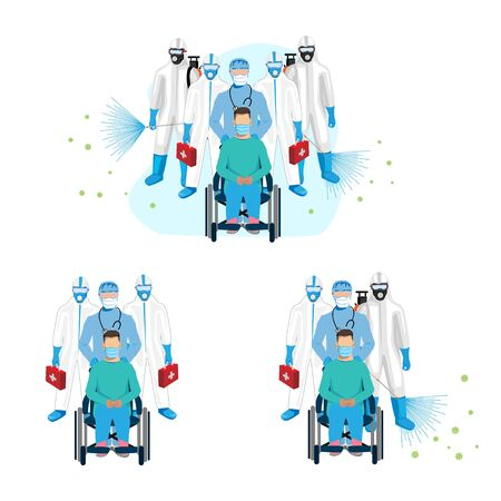 Doctors in protective clothing hospitalization of a patient with a virus. Disinfection is carried out. Set of vector illustrations.