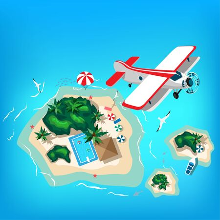 Airplane over a tropical beach and island. Summertime travel and entertainment. Aerial view .Vector illustration.