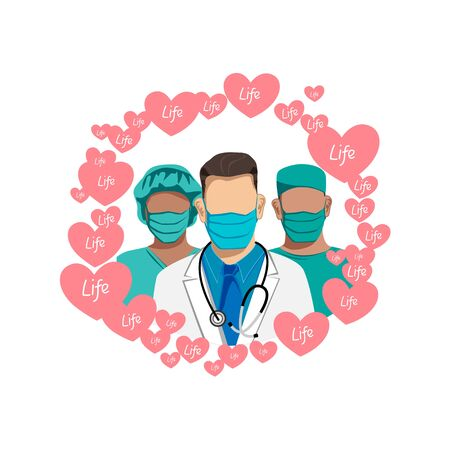 Thank you to the doctors and nurses for their help and saved lives. Masked doctors surrounded by hearts. Stop the epidemic. Quarantine Vector illustration.