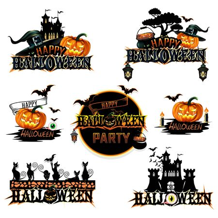 Happy Halloween label with inscriptions. Set of colorful label with pumpkins, castles and bats. Vector illustration on a white background.