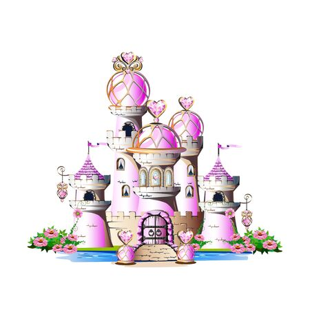 Pink princess castle with magic crystals, hearts and towers. Vector illustration isolated on a white background. Vector Illustration