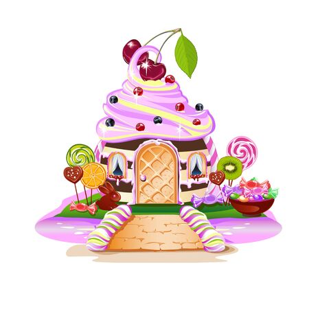 Sweet house on candy land. Fairytale house surrounded by sweets, candies and fruits. Pink river and a sweet bridge. Vector illustration on a white background.